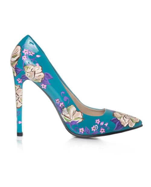 Pantofi pictati manual Fresh Flowers -sau Orice Culoare