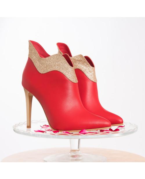 Botine rosii din piele naturala Wes L101 - sau Orice Culoare
