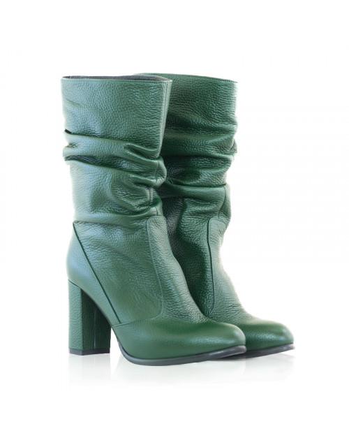 Cizme piele naturala verde Leon D67 - sau Orice Culoare