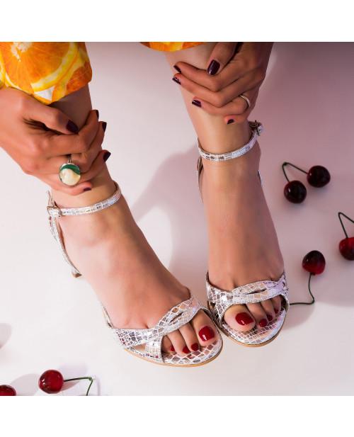 Sandale argintii din piele naturala Juliet S95 - sau Orice Culoare