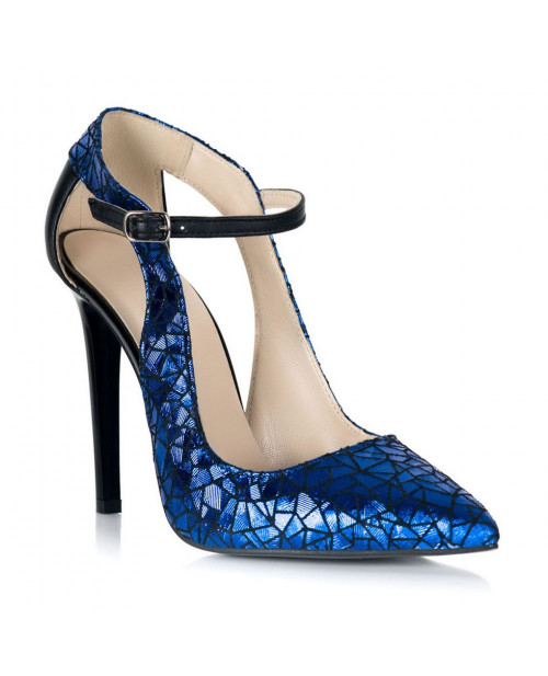 Pantofi piele imprimeu albastru Arina S108