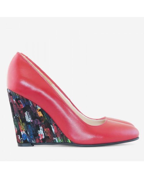 Pantofi cu toc ortopedic Naty rosii D15 - sau Orice Culoare