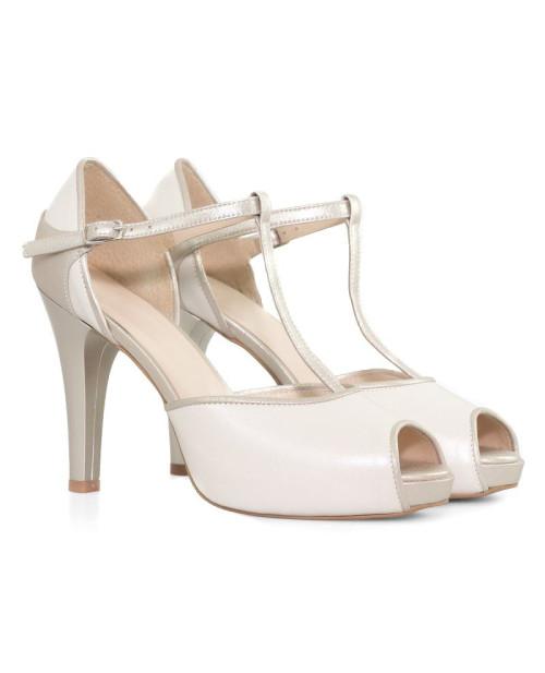 Sandale ivory din piele naturala Clara D10 - sau orice culoare