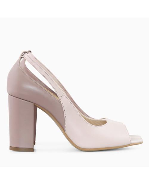 Pantofi grej din piele naturala Gily D51