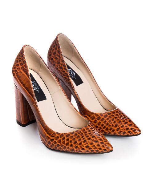 Pantofi Stiletto din piele naturala croco maro Spice S77