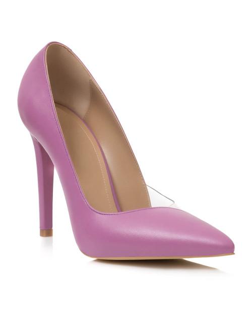 Pantofi lila din piele naturala Estelle L33 - sau Orice Culoare