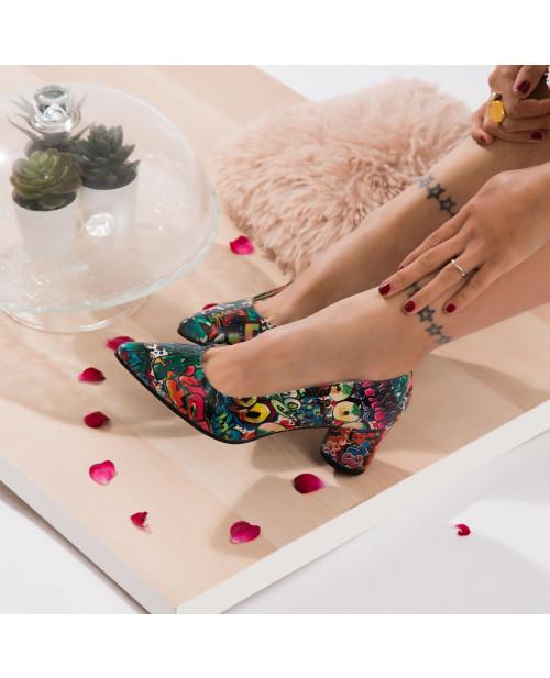 Pantofi multicolori din piele naturala Logan V107 - sau Orice Culoare