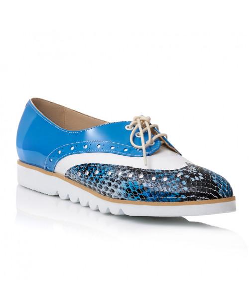 Pantofi Oxford blue din piele naturala S105 - sau Orice Culoare