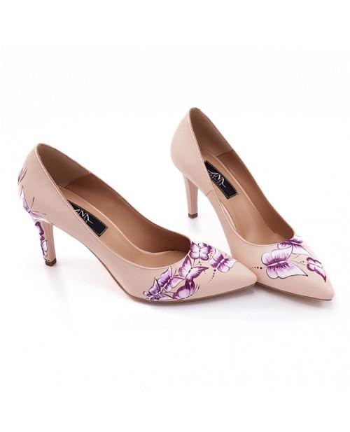 Pantofi nude Letty pictati manual L76 - sau Orice Culoare