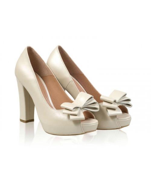 Pantofi piele Ellen cu funda N506 - sau Orice Culoare