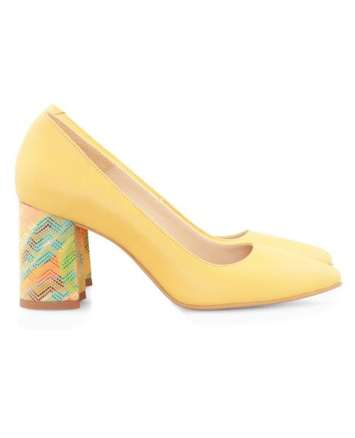 Pantofi piele galbeni Alma D21 - sau Orice Culoare