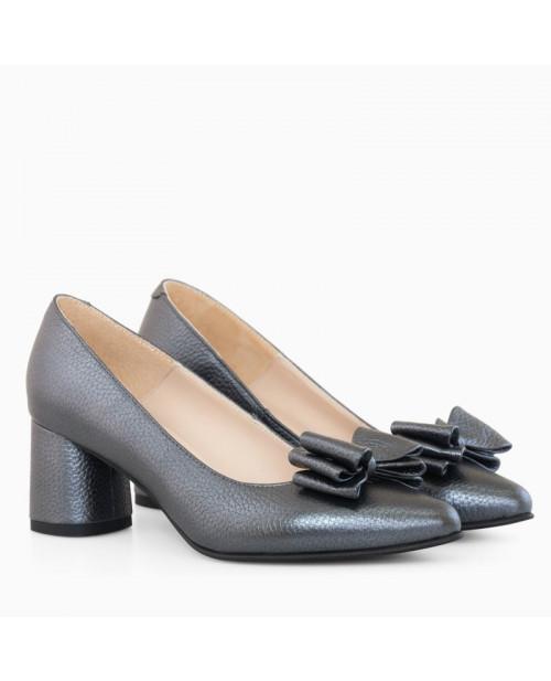 Pantofi piele Dona gri sidef D9