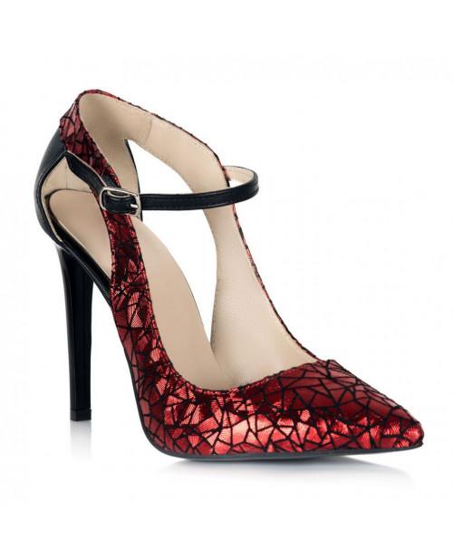 Pantofi piele imprimeu rosu Arina S109