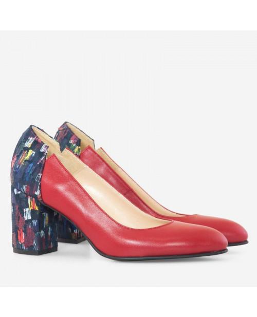 Pantofi Ronna piele naturala rosii D101