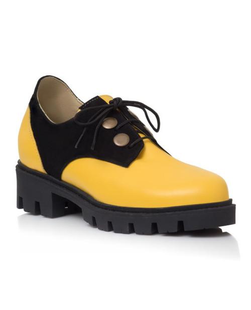 Pantofi piele Oxford Patriss Galben V90 - sau Orice Culoare