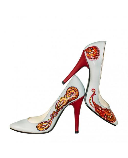 Pantofi piele pictati manual Mira L97 - sau Orice Culoare