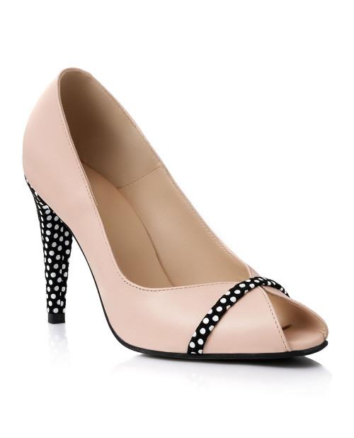 Pantofi piele nude cu buline S101