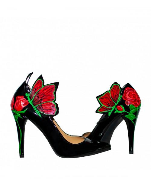 Pantofi piele pictati manual Stiletto Roses - sau Orice Culoare