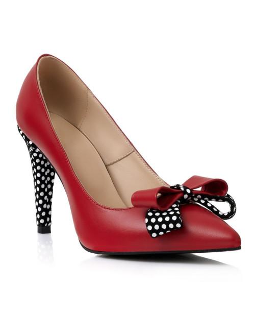 Pantofi piele rosii cu buline S92