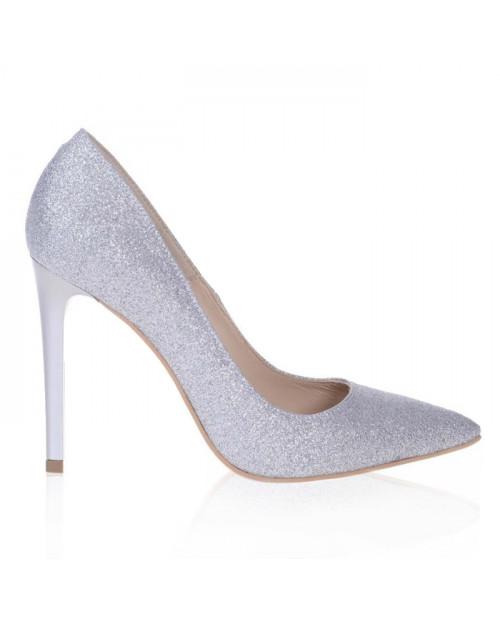 Pantofi Stiletto glitter argintiu Lucy S107 - sau Orice Culoare