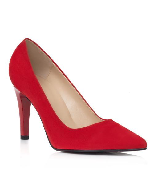 Pantofi rosii din piele Viviane L101 - sau Orice Culoare