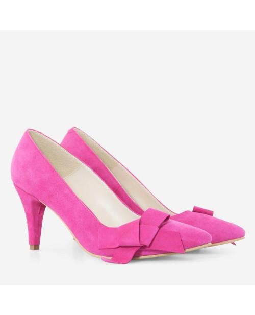 Pantofi fuchsia din piele intoarsa Estera D09