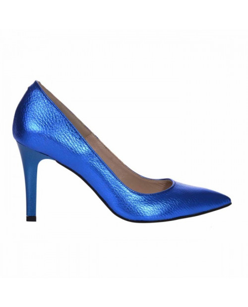 Pantofi Stiletto Albastri Din Piele Naturala Nadine S122 - sau Orice Culoare
