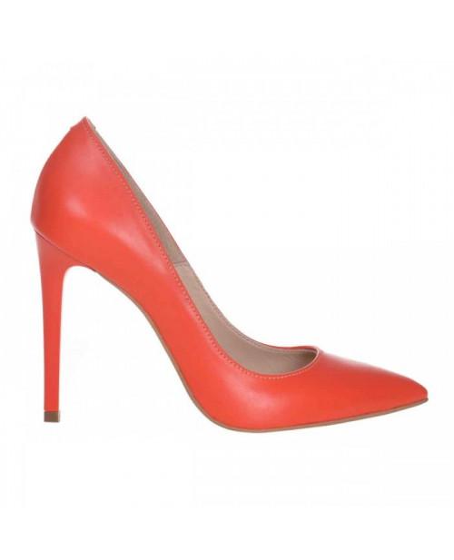 Pantofi Stiletto din piele naturala portocalie Spice S61 - sau Orice Culoare