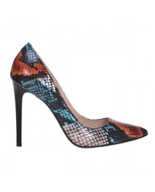 Pantofi Stiletto din piele naturala multicolor Spice S55 - sau Orice Culoare
