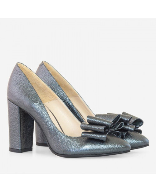 Pantofi Hayley piele naturala gri antracit D90