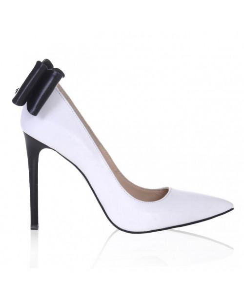 Pantofi Stiletto Selia, alb/negru S111 - sau Orice Culoare