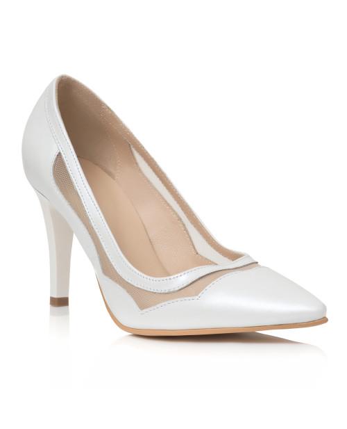 Pantofi Ivonne albi din piele naturala C19