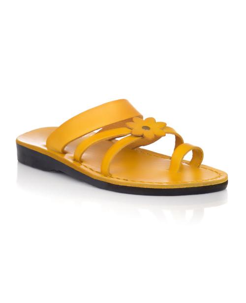 Sandale piele naturala Flower galbene