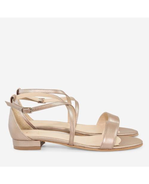 Sandale bronz din piele naturala Clara D5 -sau Orice Culoare