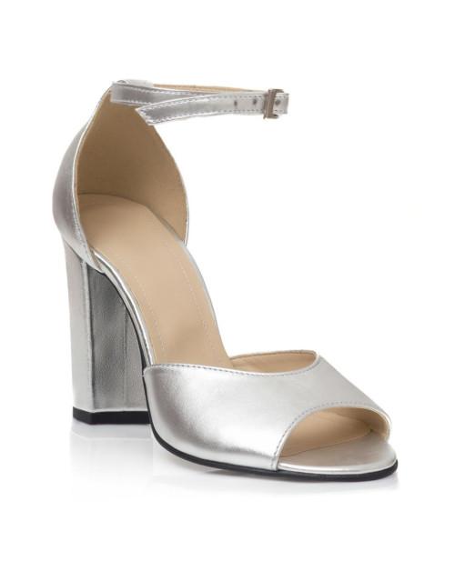 Sandale argintii din piele naturala Valeria V101 - sau orice culoare