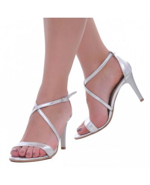 Sandale argintii piele naturala Maddy S2 - sau Orice Culoare