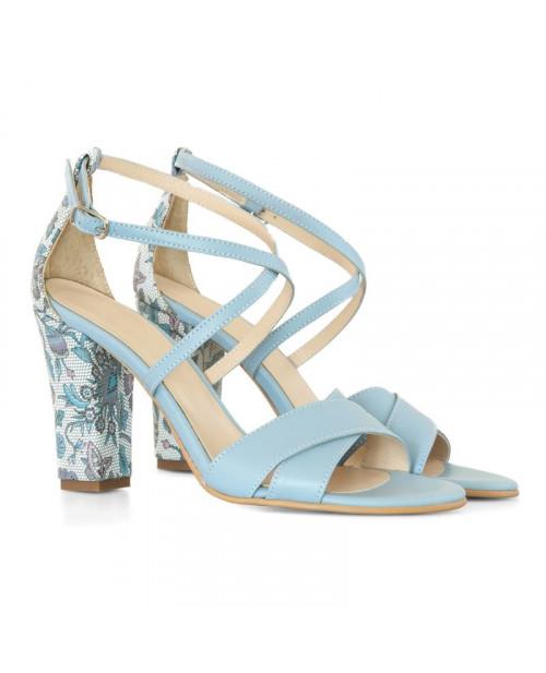 Sandale bleu din piele naturala Elizee D13 - sau orice culoare