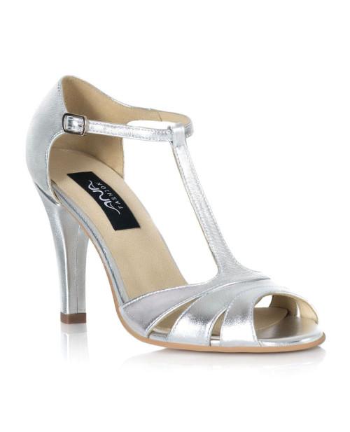 Sandale dama Liz toc mic, argintiu-sau Orice Culoare