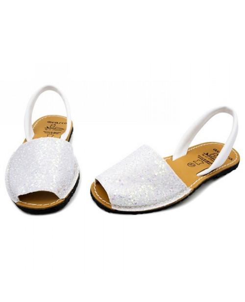Sandale piele Avarca glitter alb
