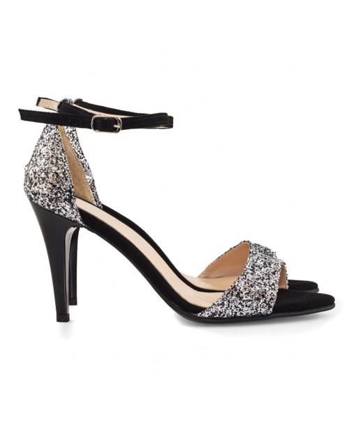 Sandale Glitter Selena argintii D03 - sau Orice Culoare