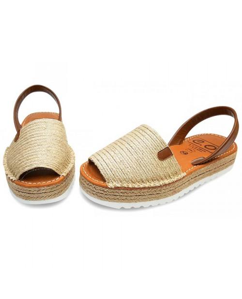 Sandale piele Avarca Bej cu platforma