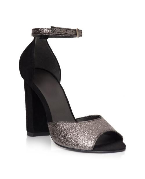 Sandale negre din piele naturala Valeria V101 - sau orice culoare