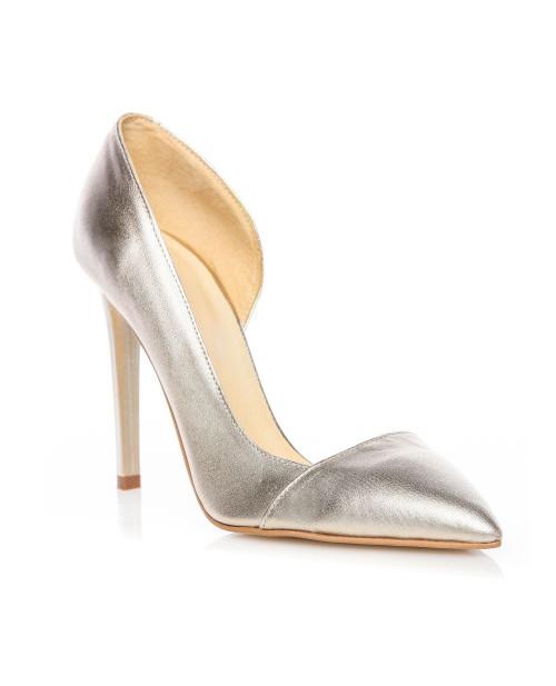 Pantofi Stiletto argintii decupati pe interior -sau Orice Culoare