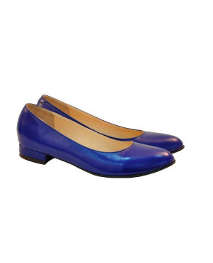 Balerini piele naturala, albastru electric-sau Orice Culoare