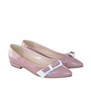 Balerini din piele lacuita roz pudra D1-sau Orice Culoare