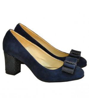 Pantofi online bleumarin cu buline D1-sau Orice Culoare