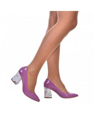 Pantofi lila din piele lacuita Sara S55 - sau Orice Culoare