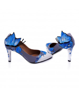 Pantofi pictati manual Blossom - Colectia CDS-sau Orice Culoare