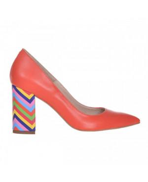 Pantofi Stiletto portocalii din piele naturala Isra S23 - sau Orice Culoare