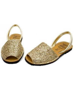 Sandale piele Avarca glitter aurii